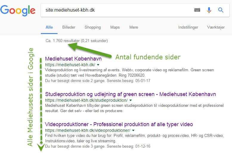 Mediehuset Københavns sider i Google søgeresultat