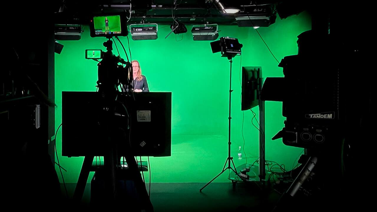 Novo Nordisk i green screen studiet i Mediehuset København